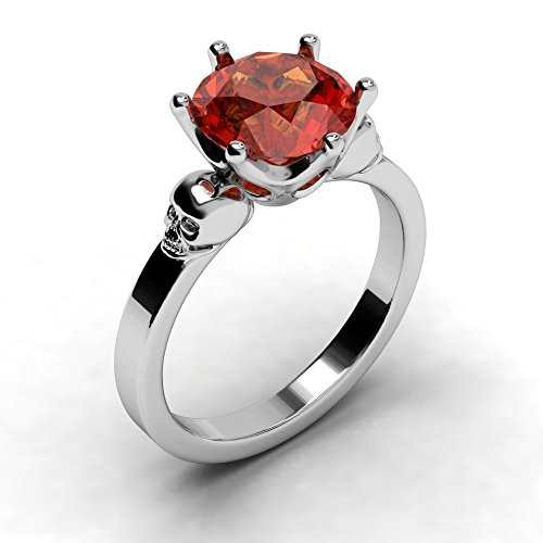 EVBEA Ruby Ring Gothic Unique Bling Red Diamond Skull Engagement Ring (8) (Diamond Skull Engagement Ring)