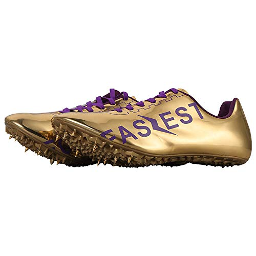 Supwind Women's Men's Track and Field Spikes Track Shoes for Athletics Racing Distance Sprint Running (US 8, Gold) - Metal Field Boots