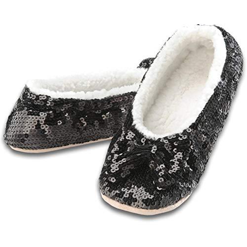 (Snoozies Women's Ballerina Metallic Shine Sequin Slippers,Small,Black)