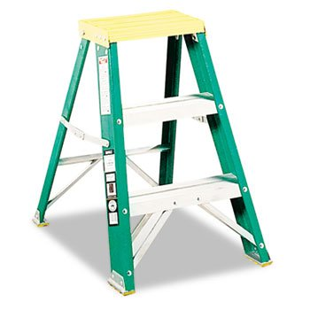 624 Folding Fiberglass Step Stool - 624 Folding Fiberglass Locking Two-Step Stool 17W X 22 Spread X 24H Yellow
