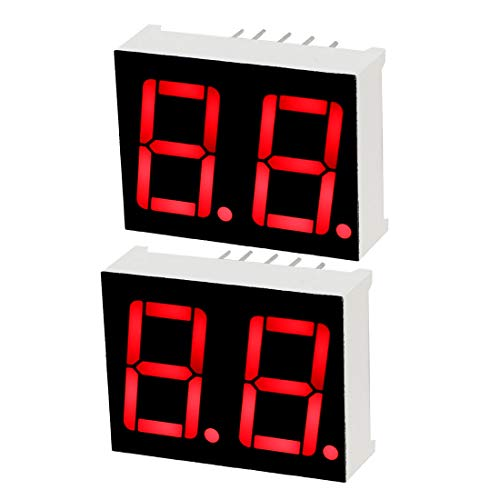 (uxcell Common Cathode 10 Pin 2 Bit 7 Segment 0.98 x 0.75 x 0.31 Inch 0.55 inches Red LED Display Digital Tube 2pcs )