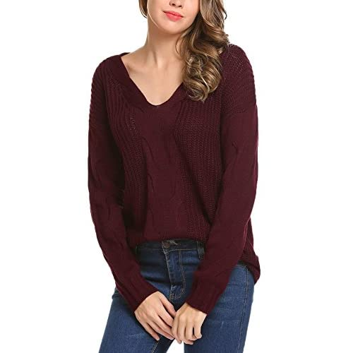 Discount Billti Womens Casual V Neck Long Sleeve Loose Fit Crochet Knitted Sweater Pullover Top free shipping