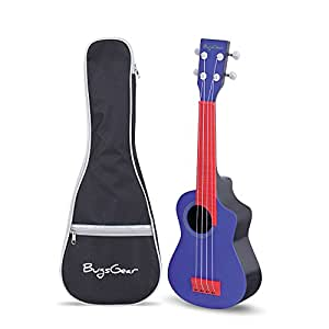 BugsGear Portable Outdoor Kid Friendly 18 Fret Soprano Aqulele Water Resistant Ukulele with Case (Blue, Red)