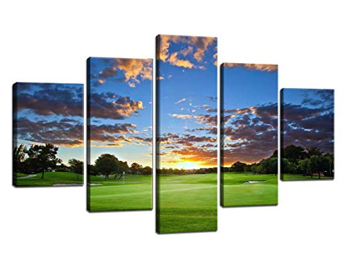 Large Blue Sky White Cloud Wall Art Green Paintings on Canvas Picture Home Decor Posters and Prints for Living Room Golfer or Golf Enthusiast Gift 5 Piece Artwork Framed Ready to Hang(60''Wx40''H)