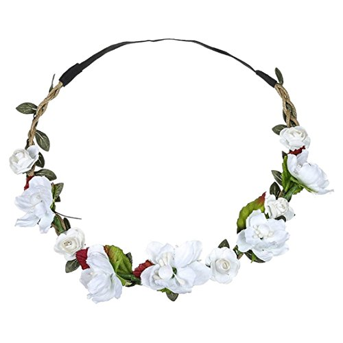 BCDshop Flower Headband Hair Band Wrap for Women Girls Ladies Boho Floral Hairband Party Festival Wedding Garland Accessories (White)