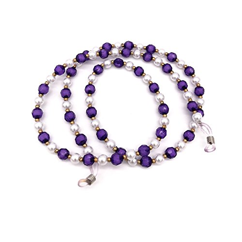Acrylic Pearl Bead Beaded Eyeglass Chain Holder Sunglass Strap Holder Eyewear Retainer Lanyard Cord for Women (Purple)