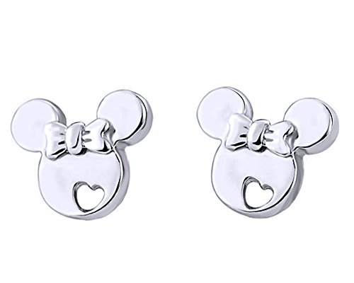 - Christmas Sale 14K White Gold Over Sterling Silver Mickey Mouse Bow Heart Cut-Out Stud Earrings