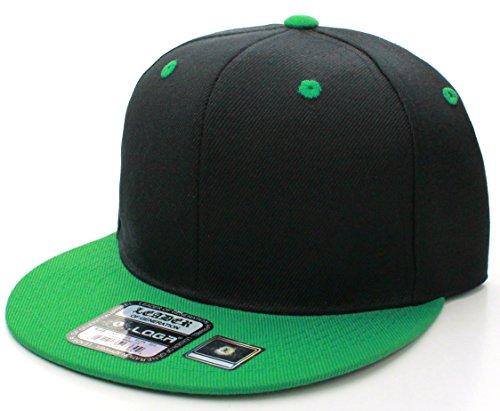 L.O.G.A. Plain Adjustable Snapback Hats Caps (Many Colors). Black/Green