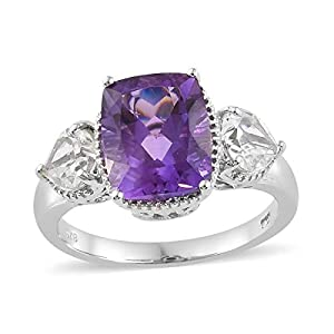 Sterling Silver Platinum Plated Cushion Rose De France Amethyst White Topaz Heart Ring Size 11 Cttw 5.7