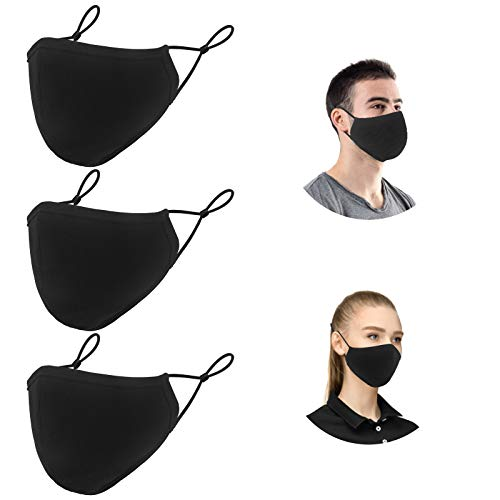 Black 3-Ply Youth & Adults Adjustable Cloth Mouth shields, Reusable Washable Cotton Face Fashion Protector for Office Work Outdoors Daily Use (3 Pack)