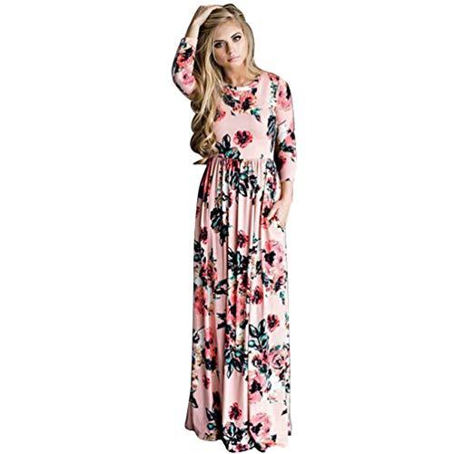 de Largos Vestido Mama y Hija Mamá Vestidos Larga Ropa Manga Familia Jitong Playa Bohemio Rosado Flores para Casual ARgEwwqn