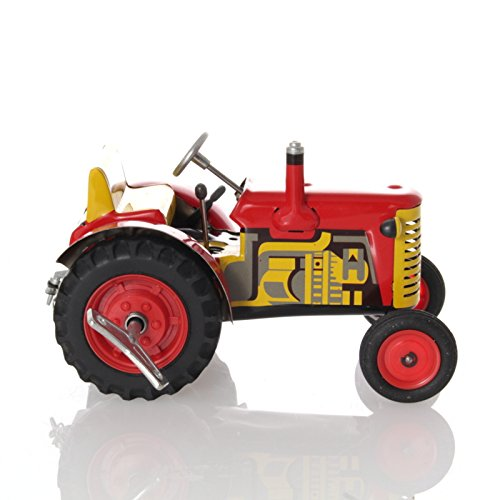 Tin Tractor Toy - WPS Zetor Tractor with Clockwork Drive, red, 16 cm - Mechanical Tin Toy