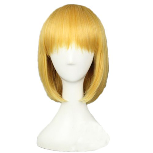 Angelaicos Womens Heat Friendly Fiber Party Cosplay Costume Bob Wigs Short Yellow (Halloween Characters For Women)