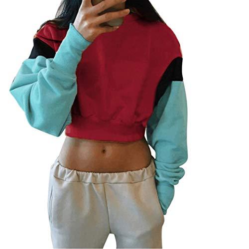 Dainzuy Ladies Sexy Casual Tops,Women's Long Sleeve Hoodie Pullover Striped Crop Top Sweatshirt ()