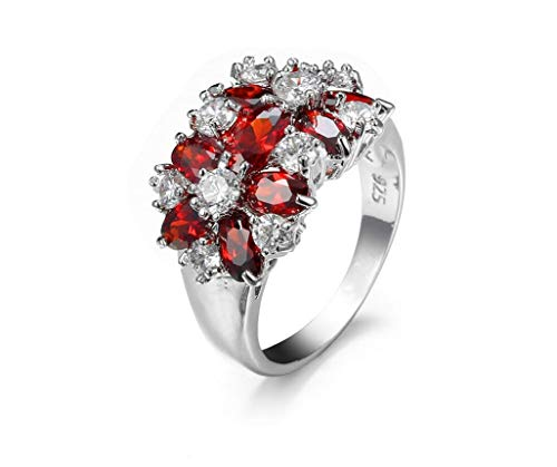 XIGUA MELON Plated 925 Silver Ring with Zircon Lady Ring Colorful Crystal Rhinestone Ring Gift Jewelry (Red, 8)