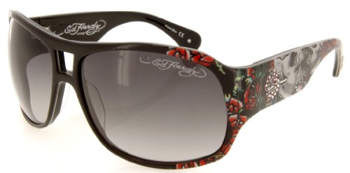 Ed Hardy Skull And Roses Brie Sunglasses - Black