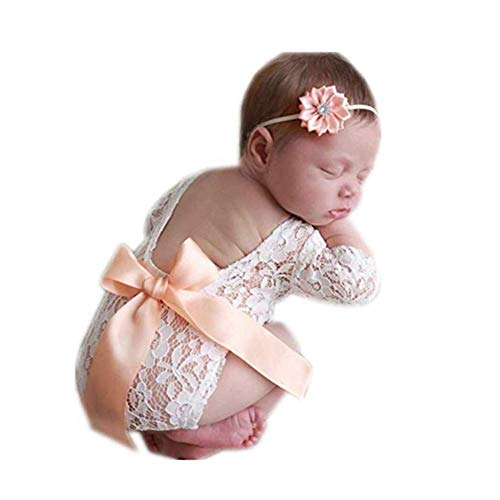 Fashion Newborn Girls Baby Costume Outfits Photography Props Flower Headdress Rompers Sets (Orange)
