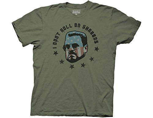 Big Lebowski I Don't Roll on Shabbas Men's T-shirt, Large-Army Green