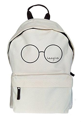 Teequote Imagine John Lennon Glasses Rucksack Beiläufige Beige Tasche