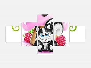 Lienzo 5piezas 200cmx100cm Diseño Gato dibujos animados Animal Fresa imágenes Impresión sobre lienzo imagen de impresión mehrteilig Madera 9ya899, 5Tlg 200x100cm
