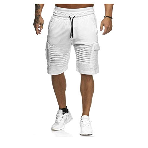 Men Summer Casual Pocket Fitness Joggers Fashion Trousers Sweatpants Shorts White
