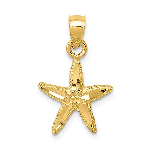 14k Yellow Gold Starfish Pendant Charm Necklace Sea Shore Shell Life Fine Jewelry Gifts For Women For Her ()