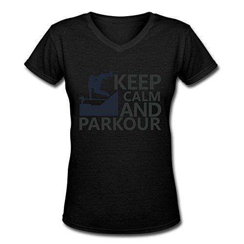 LDMH Women's Keep Calm And Parkour V-Neck TShirt Black