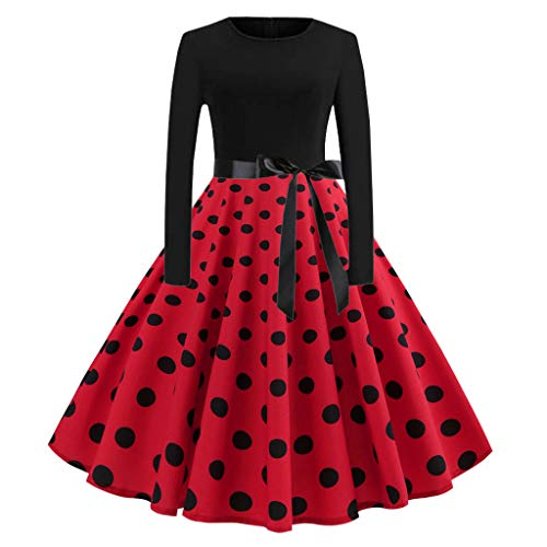 Women Vintage Polka Dot Printed Dress Retro Boatneck Long Sleeve Belted Prom Party Cocktail Swing Dress (Red, M)