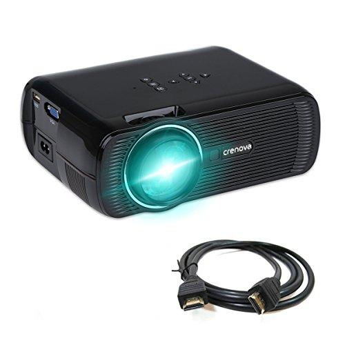 Crenova XPE460 Beamer 1200 Lumens 800*480 Auflösung Augenschutz inklusive HDMI Kabel - Schwarz