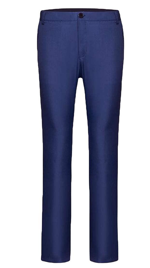 UUYUK Men Basic Flat-Front Business Expandable Waist Dress Pants
