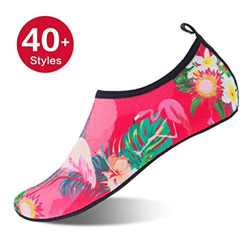 Womens and Mens Water Shoes Barefoot Quick-Dry Aqua Socks for Beach Swim Surf Yoga Exercise (Flamingos, XXL)