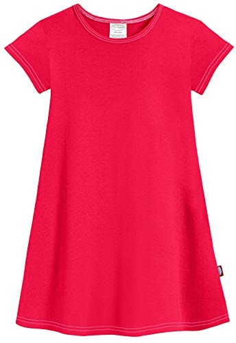 City Threads Baby Girls' Cotton Short Sleeve Cover Up Dress for Sensitive Skin SPD Sensory Friendly, Candy Apple Red, 14 -