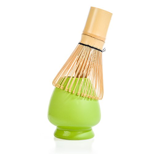 Tealyra - Matcha Whisk (Chasen) 100 Prong - With Ceramic Stand Holder for Bamboo Matcha Chasen - Best Japanese Matcha Tea Set Accessories - 2 Piece Matcha Tea Set
