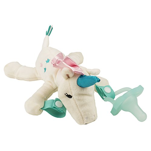 Dr. Browns Lovey Pacifier and Teether Holder, 0 Months+, Unicorn with Teal