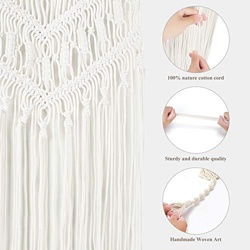 Purnap 3 Pack Macrame Plant Hangers with 3 Hooks & Macrame Wall Hanging Cream-White(Two Styles Shipped Randomly)