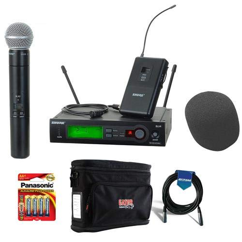 Shure SLX124/85/SM58-J3 Combo Wireless Microphone Combo System, G5/494-518 MHz Bundle With Gator Cases GM-1W Wireless System Bag, On-Stage ASWS58 Foam Windscreen, 20' XLR Mic Cable, 4x AA Batteries by Shure