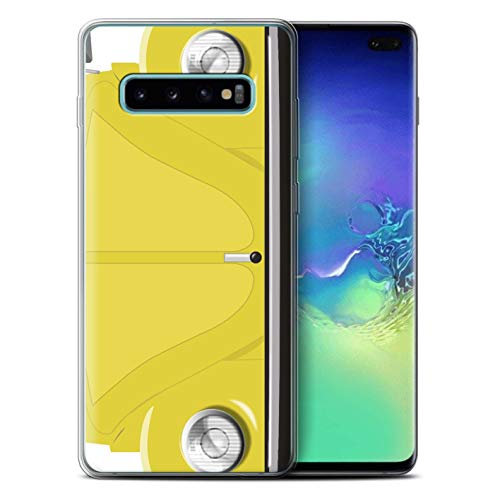 eSwish Gel TPU Phone Case/Cover for Samsung Galaxy S10 Plus/Rallye Yellow Design/Retro Beetle Collection