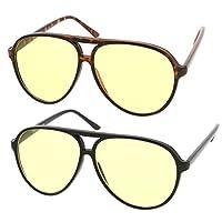 zeroUV - Gafas de sol de aviador de plástico grandes y retro con lente de manejo bloqueadora azul (paquete de 2 (negro /amarillo + tortuga)