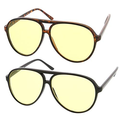 zeroUV - Retro Large Plastic Aviator Sunglasses with Yellow Blue Blocking Driving Lens (2-Pack (Black/Yellow + Tortoise)