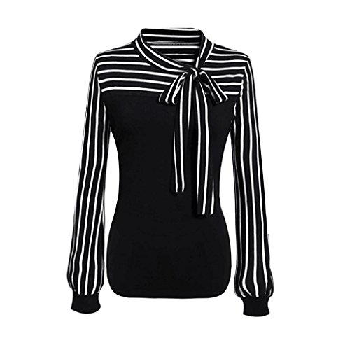 Women Blouse HGWXX7 Tie-Bow Neck Striped Long Sleeve Splicing Business Attire Shirt Tops Blouse