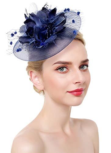 - Z&X Big Flower Fascinator Derby Hat with Headband Clip Millinery Cocktail Hat Navy Blue
