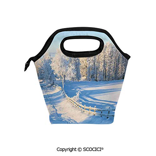 Reusable Insulated Lunch Bags with Pocket Winter Snow