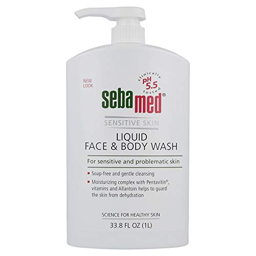 Sebamed Liquid Face and Body Wash For Sensitive Skin pH 5.5 Mild Gentle Hydrating Cleanser Hypoallergenic Dermatologist Recommended 33.8 Fluid Ounces For Healthier Smoother Skin (1 Liter)
