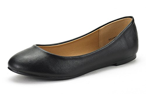 (DREAM PAIRS Women's Sole Simple Black Pu Ballerina Walking Flats Shoes - 9 M)