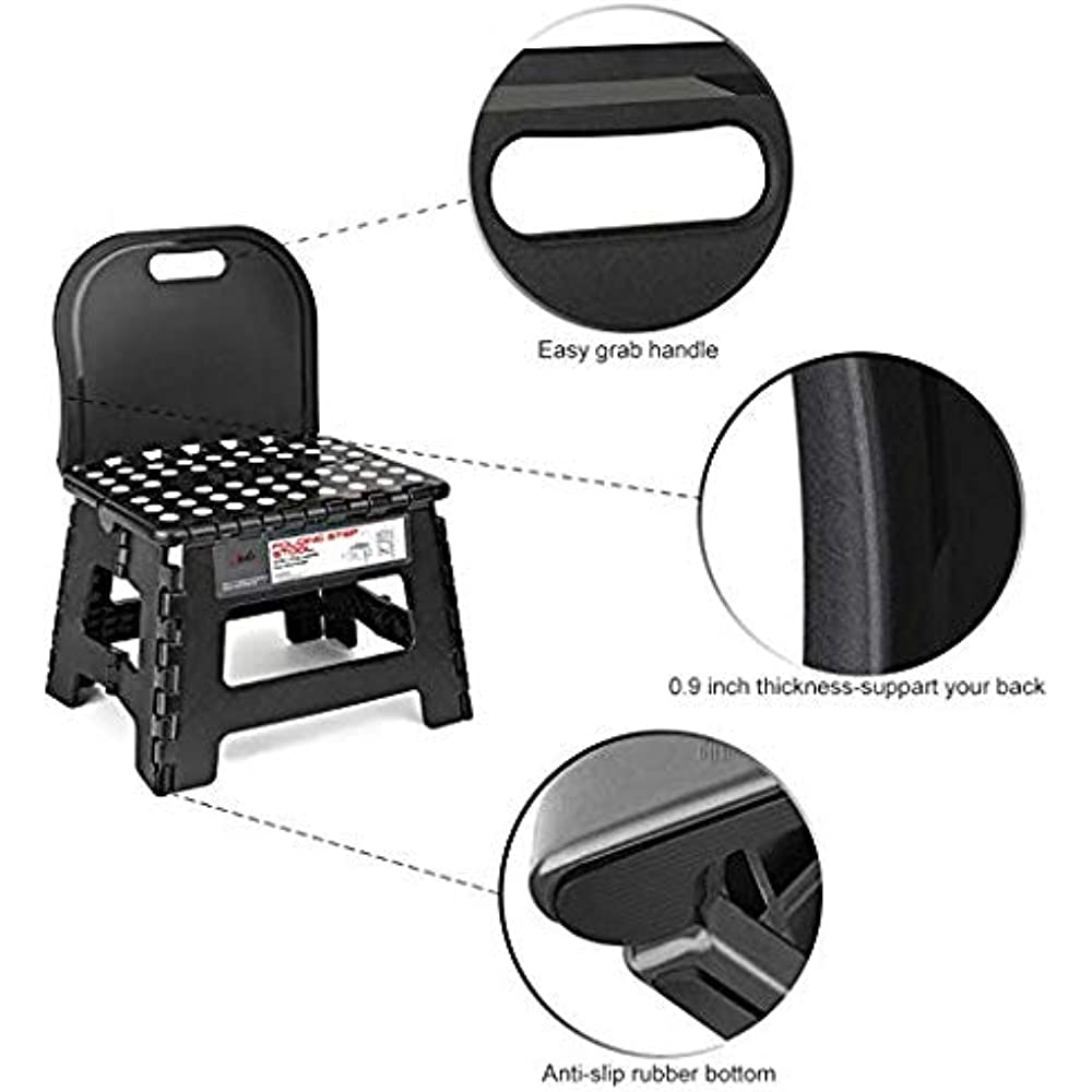 Small Folding Step Stool Back Support Children 9 Inch