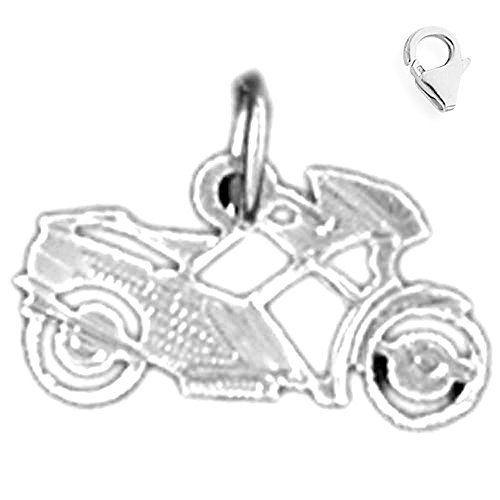 (Jewels Obsession Motorcycle Charm   14K White Gold Motorcycle Charm Pendant - 10mm)