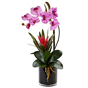 Nearly Natural Orchid and Bromeliad Silk Arrangement, Mauve 37