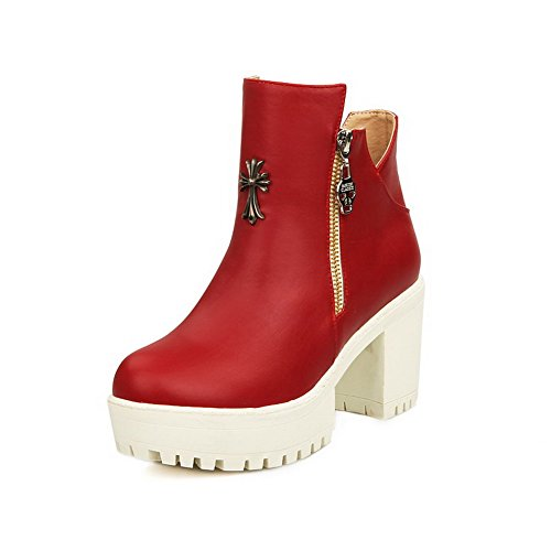 AllhqFashion Round Women's Solid PU High-Heels Chains Closed Round AllhqFashion Toe Boots B01MEGUPBN Parent b9c4d5