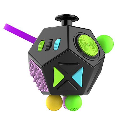 Fidget Cube Dodecagon 12 Side Fidget Toy Cube Relieves Stress and Anxiety Anti Depression Cube for Children and Adults with ADHD ADD OCD Autism (Black Green)