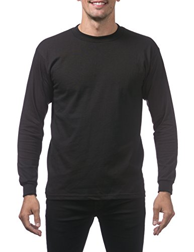 - Pro Club Men's Heavyweight Cotton Long Sleeve Crew Neck T-Shirt, 2X-Large, Black